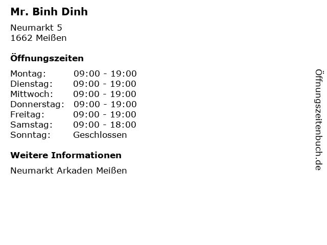 Mr. Binh Dinh in Meißen: Adresse und Öffnungszeiten