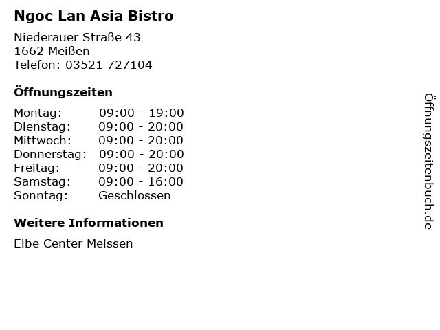 Ngoc Lan Asia Bistro in Meißen: Adresse und Öffnungszeiten