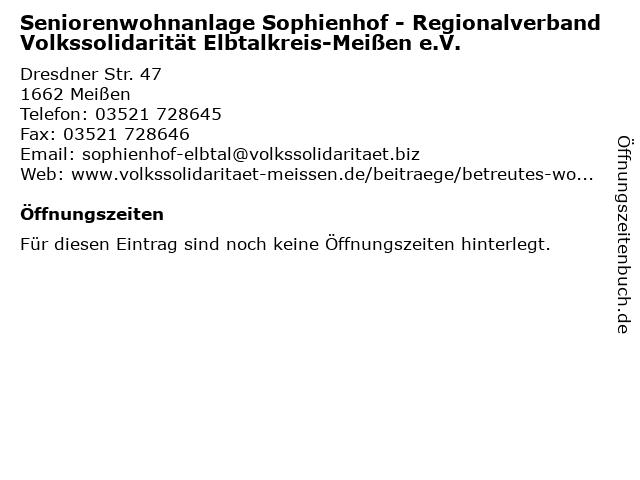 Volksolidarität Elbtalkreis-Meißen e.V.Begegnungsstätte Sophienhof Betreutes Wohnen in Meißen: Adresse und Öffnungszeiten