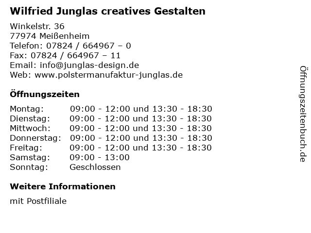 Wilfried Junglas creatives Gestalten in Meißenheim: Adresse und Öffnungszeiten