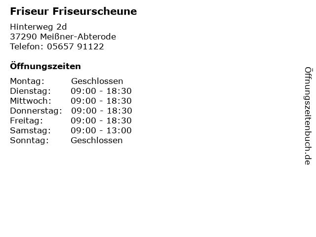 Friseur Friseurscheune in Meißner-Abterode: Adresse und Öffnungszeiten