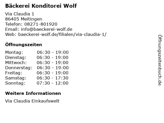 Bäckerei Konditorei Wolf GmbH in Meitingen: Adresse und Öffnungszeiten