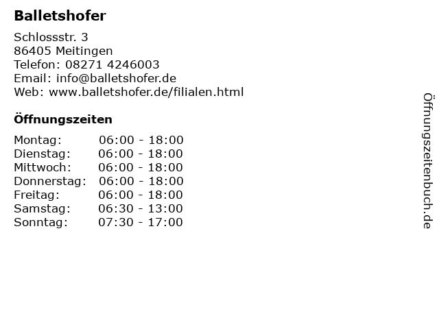 Balletshofer in Meitingen: Adresse und Öffnungszeiten