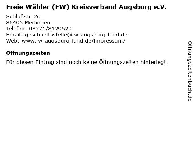 Freie Wähler (FW) Kreisverband Augsburg e.V. in Meitingen: Adresse und Öffnungszeiten