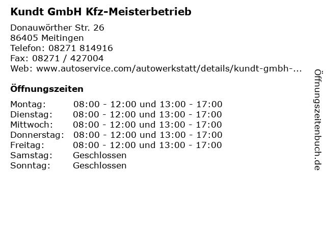 Kundt GmbH Kfz-Meisterbetrieb in Meitingen: Adresse und Öffnungszeiten