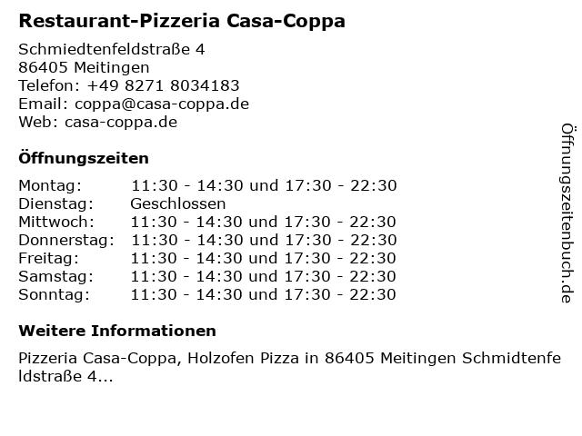 Restaurant-Pizzeria Casa-Coppa in Meitingen: Adresse und Öffnungszeiten