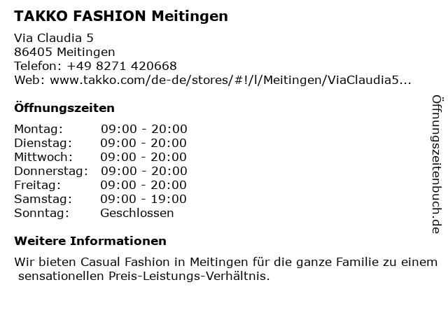 Takko Fashion in Meitingen: Adresse und Öffnungszeiten