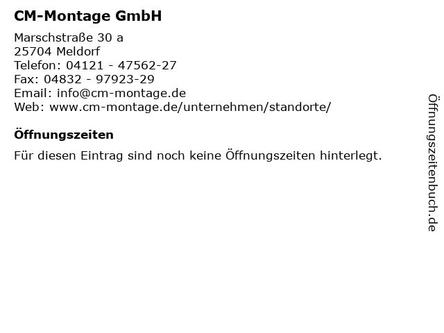 CM-Montage GmbH in Meldorf: Adresse und Öffnungszeiten