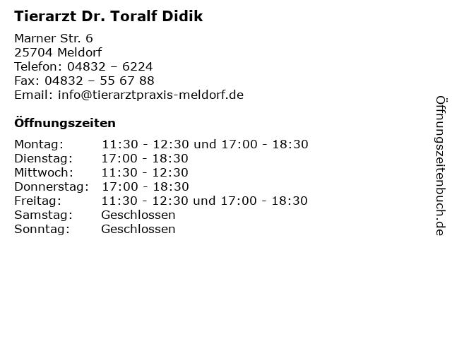 Tierarzt Dr. Toralf Didik in Meldorf: Adresse und Öffnungszeiten