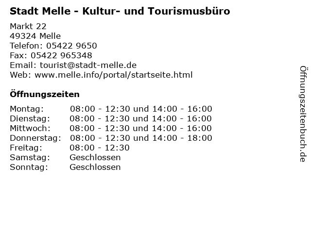 Stadt Melle - Kultur- und Tourismusbüro in Melle: Adresse und Öffnungszeiten