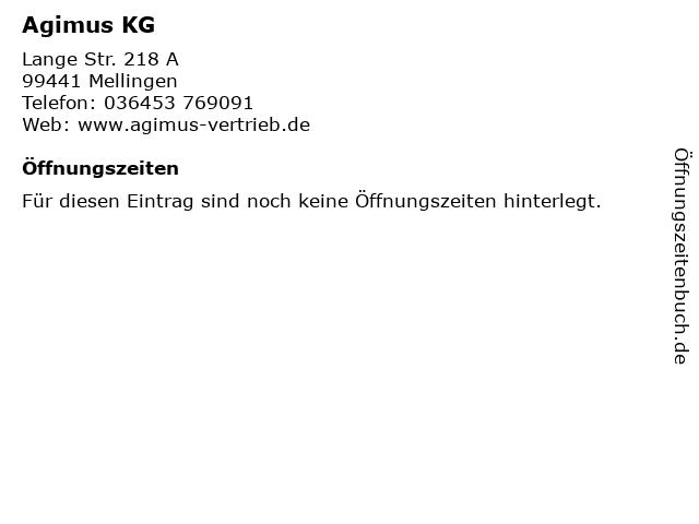 Agimus KG in Mellingen: Adresse und Öffnungszeiten