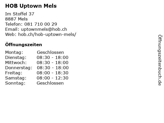HOB Uptown Mels in Mels: Adresse und Öffnungszeiten