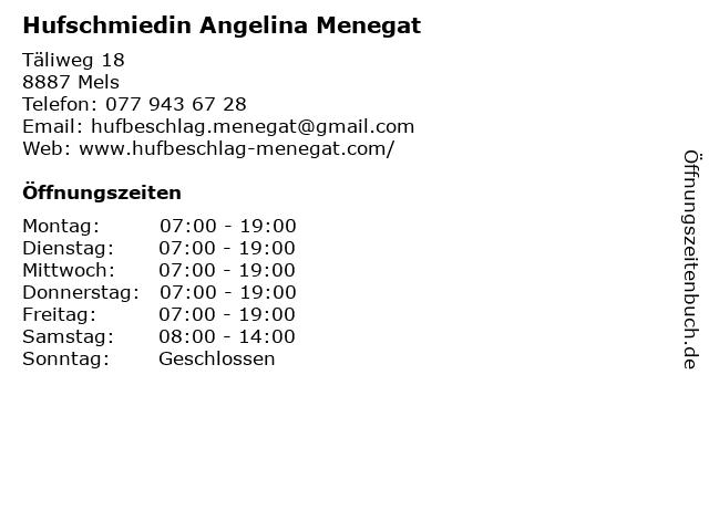 Hufschmiedin Angelina Menegat in Mels: Adresse und Öffnungszeiten