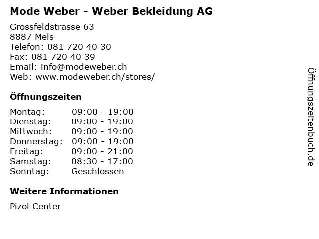 Mode Weber - Weber Bekleidung AG in Mels: Adresse und Öffnungszeiten