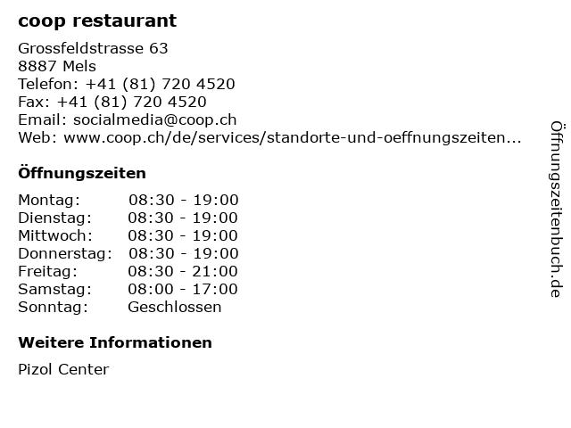 coop restaurant in Mels: Adresse und Öffnungszeiten