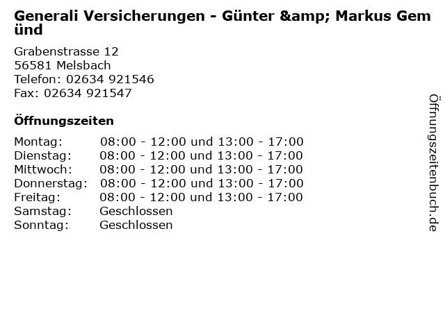 Generali Versicherungen - Günter & Markus Gemünd in Melsbach: Adresse und Öffnungszeiten