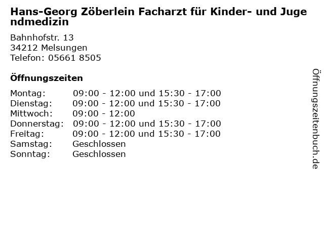 """great prices professional sale best selling ᐅ Öffnungszeiten """"Hans-Georg Zöberlein Facharzt für Kinder ..."""
