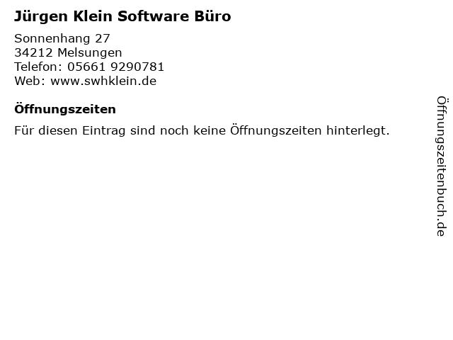 Jürgen Klein Software Büro in Melsungen: Adresse und Öffnungszeiten