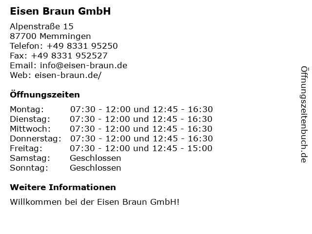 ᐅ öffnungszeiten Eisen Braun Alpenstraße 15 In Memmingen