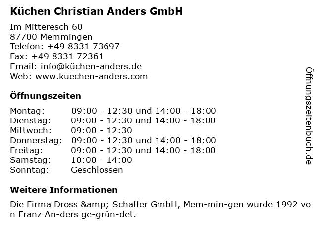 ᐅ Offnungszeiten Kuchen Christian Anders Gmbh Im Mitteresch 60