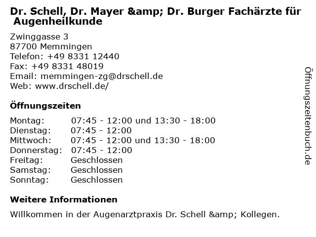 ᐅ Offnungszeiten Dr Med Michael Burger Augenheilkunde