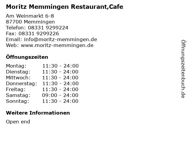 Moritz Memmingen Restaurant,Cafe in Memmingen: Adresse und Öffnungszeiten