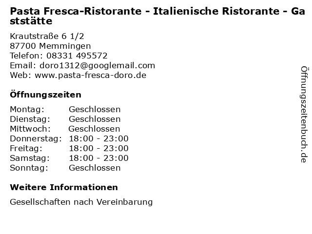 Pasta Fresca-Ristorante - Italienische Ristorante - Gaststätte in Memmingen: Adresse und Öffnungszeiten