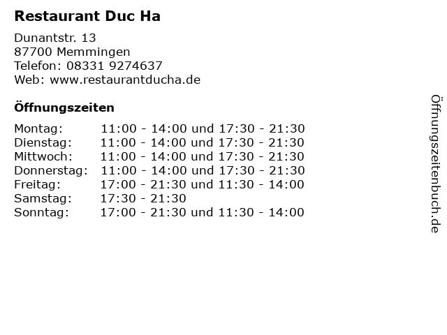 Restaurant Duc Ha in Memmingen: Adresse und Öffnungszeiten