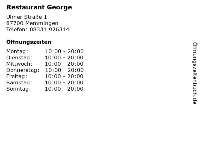 Restaurant George in Memmingen: Adresse und Öffnungszeiten
