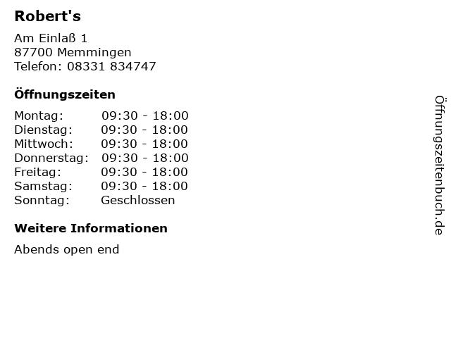 Robert's in Memmingen: Adresse und Öffnungszeiten