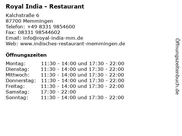 Royal India - Restaurant in Memmingen: Adresse und Öffnungszeiten