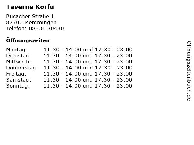 Taverne Korfu in Memmingen: Adresse und Öffnungszeiten