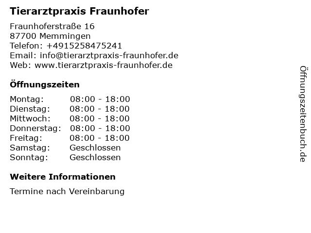 Tierarztpraxis Fraunhofer in Memmingen: Adresse und Öffnungszeiten