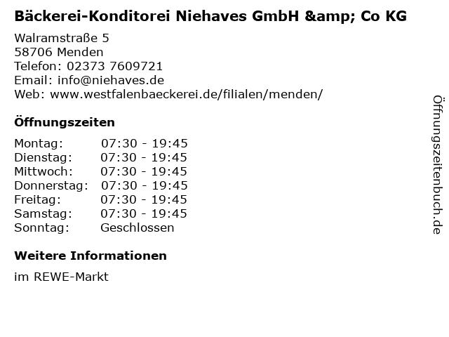 Bäckerei-Konditorei Niehaves GmbH & Co KG in Menden: Adresse und Öffnungszeiten
