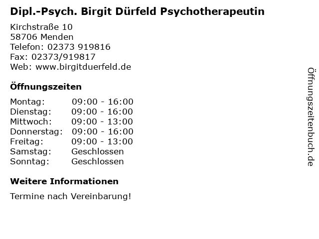 Dipl.-Psych. Birgit Dürfeld Psychotherapeutin in Menden: Adresse und Öffnungszeiten