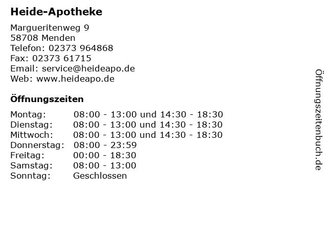 Heide-Apotheke in Menden (Sauerland): Adresse und Öffnungszeiten