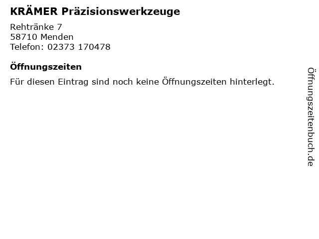 KRÄMER Präzisionswerkzeuge in Menden: Adresse und Öffnungszeiten