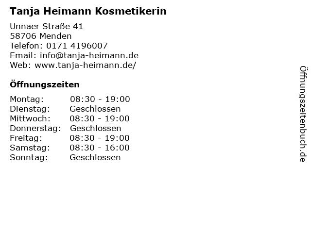 Tanja Heimann Kosmetikerin in Menden: Adresse und Öffnungszeiten