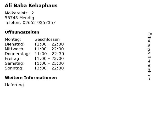 Ali Baba Kebaphaus in Mendig: Adresse und Öffnungszeiten