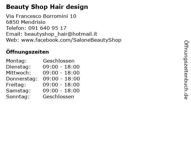 Beauty Shop Hair design in Mendrisio: Adresse und Öffnungszeiten