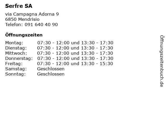 Serfre SA in Mendrisio: Adresse und Öffnungszeiten