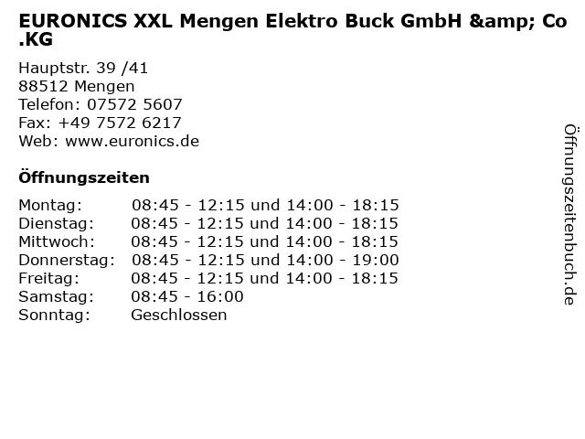 EURONICS XXL Mengen Elektro Buck GmbH & Co.KG in Mengen: Adresse und Öffnungszeiten