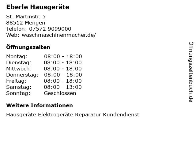 Eberle Hausgeräte in Mengen: Adresse und Öffnungszeiten