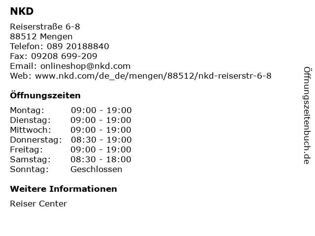 NKD Deutschland GmbH in Mengen: Adresse und Öffnungszeiten