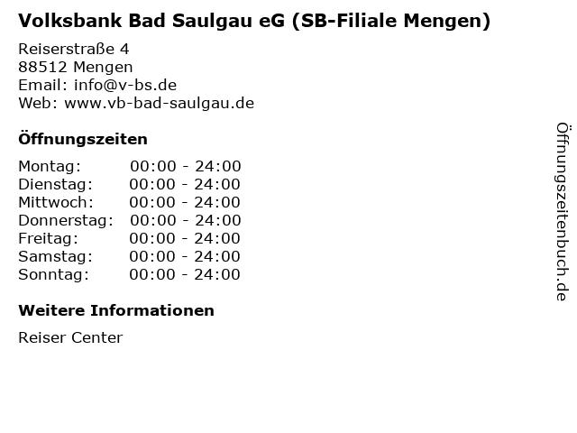 Volksbank Bad Saulgau eG (SB-Filiale Mengen) in Mengen: Adresse und Öffnungszeiten
