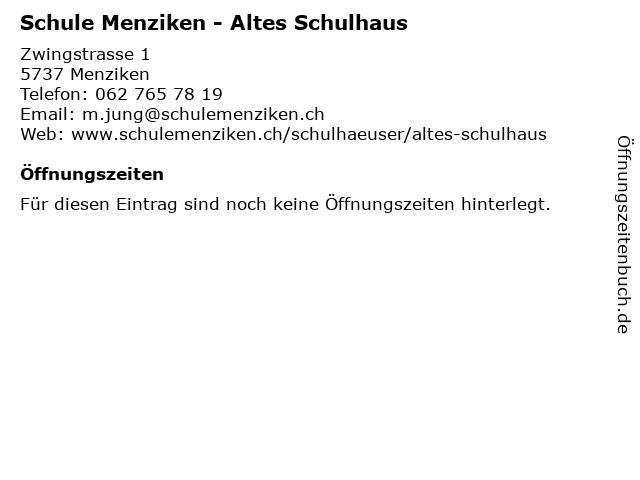 Schule Menziken - Altes Schulhaus in Menziken: Adresse und Öffnungszeiten