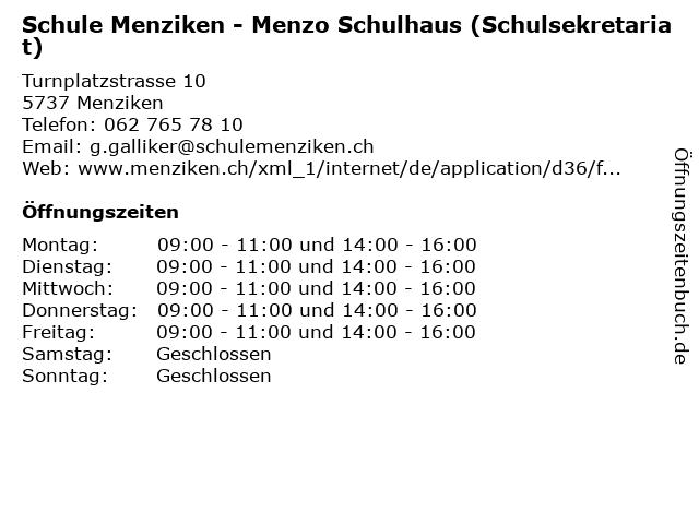 Schule Menziken - Menzo Schulhaus (Schulsekretariat) in Menziken: Adresse und Öffnungszeiten