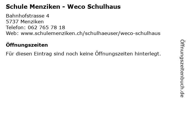 Schule Menziken - Weco Schulhaus in Menziken: Adresse und Öffnungszeiten