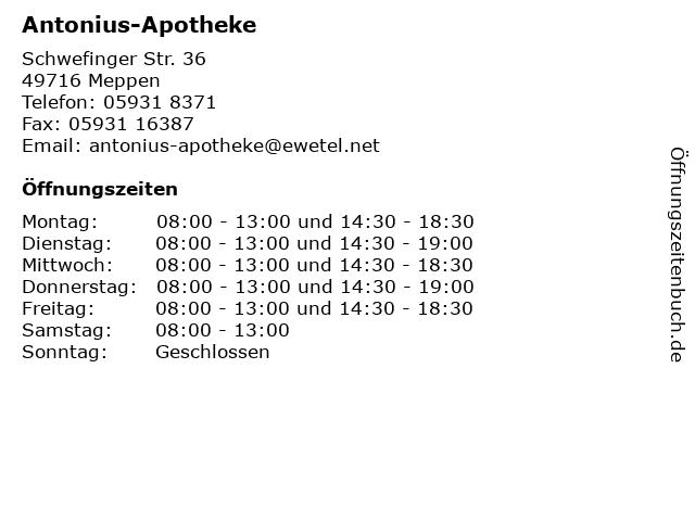 Antonius-Apotheke in Meppen: Adresse und Öffnungszeiten
