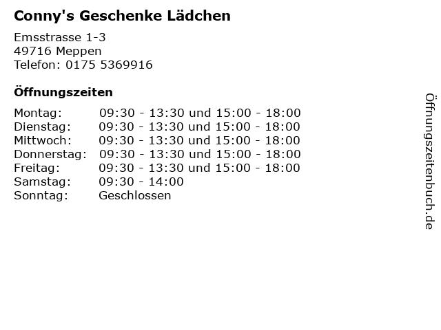 Conny's Geschenke Lädchen in Meppen: Adresse und Öffnungszeiten